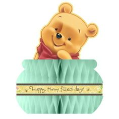 """Baby Pooh and Friends Centerpiece by Grim Reapers. $4.79. Baby Pooh Baby Shower Centerpiece Stands 14"""" Tall. Baby Pooh and Friends Centerpiece is made of paper with Baby Pooh peeking out of a seafoam green honeycomb hunny pot. Centerpiece measures approximately 14"""" high x 9"""" wide. Strip around hunny pot says """" Happy, Hunny filled days!"""" Pooh character is 2-sided. This is an officially licensed (c)Disney product. Based on the """"Winnie the Pooh"""" works by A.A. Milne and E.H. ..."""