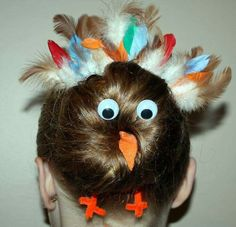 Thanksgiving turkey bun for crazy hair day! Crazy Hair Day At School, Crazy Hair Days, Crazy Day, Holiday Hairstyles, Bun Hairstyles, Crazy Hairstyles, Wacky Hair Days, Fun Buns, Crazy Socks