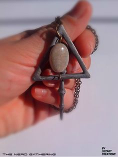 Harry Potter,Deathly Hallows,Necklace,made by me  with Polymer Clay and Amazonite stone.