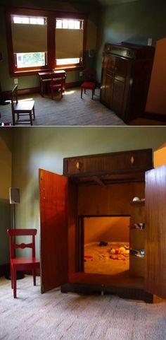 A secret passage inside a wardrobe to a playroom. !!!