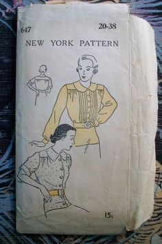 New York Vintage 40's Sewing Pattern 647 Women's Blouse