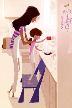 Mommy/Daughter Baking by Pascal Campion. Family Illustration, Character Illustration, Illustration Art, Pascal Campion, Megan Hess, Pics Art, Mother And Child, Mothers Love, Anime Chibi
