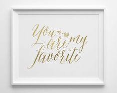 You Are My Favorite Modern Bedroom Art, Minimalist Kids Wall Art, Modern Nursery Decor, Faux Gold Foil Arrow Art, Gold and White Art on Etsy, $12.00
