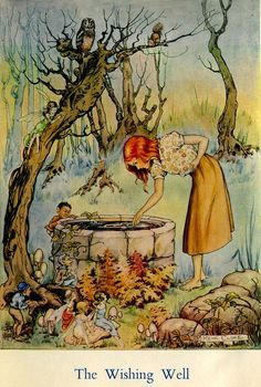 """Illustration by Rene Cloke """"The Wishing Well"""" Vintage Fairies, Flower Fairies, Children's Book Illustration, Book Illustrations, Botanical Illustration, Wishing Well, Fairy Art, Magical Creatures, Illustrators"""