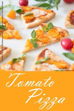 This homemade tomato pizza has a light and crispy crust topped with sweet-as-sugar cherry tomatoes, fresh mozzarella and aromatic basil. It's super-simple but DELICIOUS! Quick Lunch Recipes, Easy Pasta Recipes, Pizza Recipes, Brunch Recipes, Summer Recipes, Wine Recipes, Dessert Recipes, Brunch Ideas, Perfect Pizza