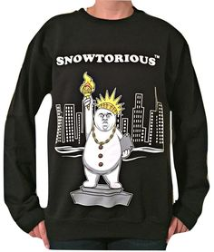 statue of snowtorious christmas sweater