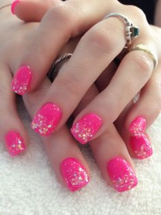 Hot pink gel with glitter