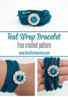 Teal Wrap Bracelet - Free Crochet Pattern | www.thestitchinmommy.com