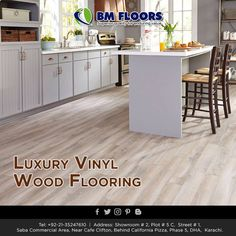 Use this guide to the hottest 2018 kitchen flooring trends and find durable, stylish kitchen flooring ideas that will stay trendy for years to come. Laminate Flooring Colors, Vinyl Flooring Kitchen, Kitchen Vinyl, Modern Flooring, Wood Tile Floors, Best Flooring, Kitchen Tiles, Hardwood Floors, Flooring Ideas