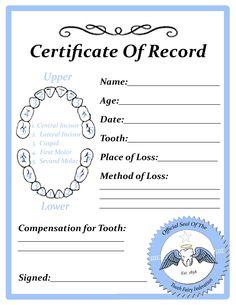 """Printable """"tooth fairy certificate blank.jpg"""""""