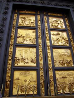 Ghiberti's Gates of Paradise, Cathedral of Florence Baptistry named by Michelangelo when he first saw them. They are magnificent. Lorenzo Ghiberti, Italian Renaissance, Renaissance Art, Miguel Angel, Florence Baptistery, Amazing Spaces, Florence Italy, Michelangelo, Beautiful Architecture
