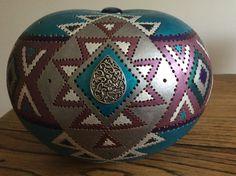 Lampe calebasse aztèque bleue / vendue