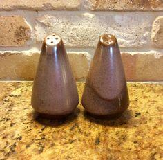 Vintage Frankoma Art Pottery Salt & Pepper Set, Brown Satin Glaze by CottonTopVintage on Etsy