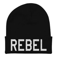 Black Beanie With Words (£12) ❤ liked on Polyvore featuring accessories, hats, beanies, headwear, beanie hat, beanie cap hat and beanie caps