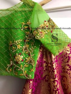 Beautiful parrot green color designer blouse and pink color benaras lehenga. Designer blouse with floret lata design hand embroidery gold thread and kundan work. Wedding Saree Blouse Designs, Pattu Saree Blouse Designs, Fancy Blouse Designs, Maggam Work Designs, Ethnic Design, Work Blouse, Sleeve Designs, Hand Embroidery, Embroidery Blouses