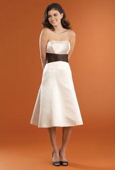A-line Strapless Contrast Color Wrap Ties Satin Bridesmaid Dress-wbm0240, $172.95
