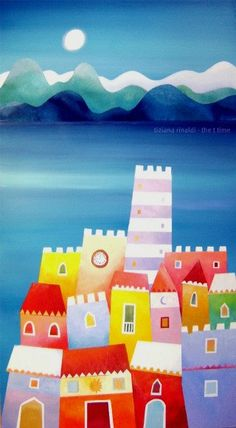 La veglia delle case - Tiziana Rinaldi #village #landscape #sea #night #painting #art