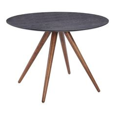 Info   Features   Dimensions The Sleekly Designed Black Rock Dining Table  Features Handsome Walnut Finished Legs And A Matte Black With Wood Grain  Top.