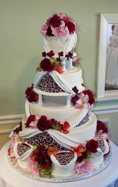 "I only have one word, and that's ""WOWZA!"" (lol) By Konditor Meister Elegant Wedding Cakes."
