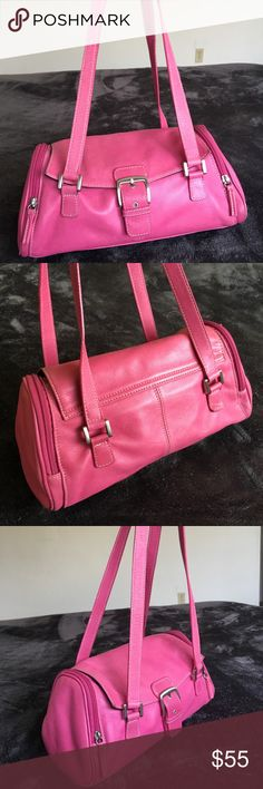Tignanello Pink barrel purse Beautiful Pink Tignanello barrel purse features magnetic flap closure, two zippered end compartments.  Purse is in excellent condition and has all the quality you would expect from Tignanello. Tignanello Bags Shoulder Bags