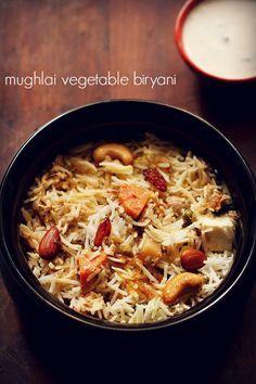 mughlai vegetable biryani recipe – mild and lightly spiced biryani with mixed veggies and dry fruits #vegetarianfood #vegrecipesofindia