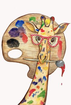 Zee giraffe as artiste Giraffe Decor, Giraffe Art, Cute Giraffe, Giraffe Drawing, Giraffe Painting, Animals Beautiful, Cute Animals, Giraffe Pictures, Photo Chat
