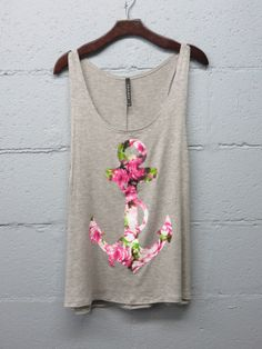 Floral anchor graphic top