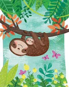 Illustrations for books for toddlers, kids, preschoolers featuring sweet animals and diverse characters. Cute Animal Illustration, Nature Illustration, Cute Animal Drawings, Cute Baby Sloths, Cute Sloth, Pinterest Foto, Sloth Drawing, Elementary Art, Spirit Animal
