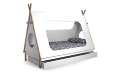 The Tipi Single bed is a fun single bed with Teepee styling, creating a fun and secure feeling space. Teepee Bed, Bunk Bed Tent, Ideas Dormitorios, Cabin Tent, Bunk Beds With Stairs, Bed With Drawers, Bed Styling, Bedroom Themes, Kid Beds