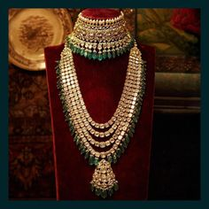 Classic uncut diamond and emerald choker and long necklace from the Sabyasachi Heritage Bridal Jewelry collection. Indian Jewelry Sets, Indian Wedding Jewelry, Bridal Jewelry Sets, Bridal Jewellery, Indian Bridal, India Jewelry, Mughal Jewelry, Korean Jewelry, Jewellery Sale