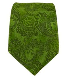 "Amazon.com: 100% Silk Woven Clover Green Twill Paisley 2 1/2"" Skinny Tie: Clothing"