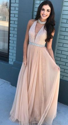 Pink V-neck Beaded Bodice Halter Long Tulle Prom Dresses by dresses, $193.18 USD