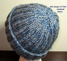 "Ribbed Knit Hats By @rssdesignsfiber - RSS Designs In Fiber! - Shown is a Blue and Gray Tweed - RSS Designs In Fiber is offering  ""Made-To-Order"" Ribbed Knit Hats that are Custom-made for each Customer in the Color Combination and Size Chosen on Etsy. ~~~ See the Details in this blog post and in each listing linked to in the post. ~~~ You can always contact RSS Designs In Fiber for a Custom Order."