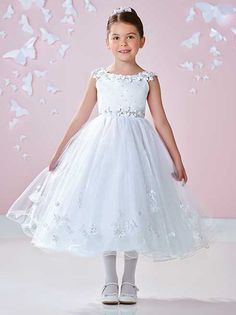Joan Calabrese for Mon Cheri 117362 Satin, tulle and sparkle tulle tea-length A-line dress with illusion slight cap sleeves, hand-beaded three-dimensional flowers trim sleeves Princess Flower Girl Dresses, Wedding Flower Girl Dresses, Little Girl Dresses, Flower Dresses, Girls Dresses, Flower Girls, Designer First Communion Dresses, Girls First Communion Dresses, Girls Designer Dresses