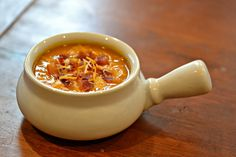 This hearty sweet potato and bacon soup is all veggies (not a drop of cream) with a delicious hint of bacon. Sweet Soup, Sweet Potato Soup, Sweet Potato Recipes, Good Foods To Eat, How To Eat Paleo, I Foods, Real Food Recipes, Soup Recipes, Bacon Soup