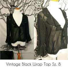 Price Drop ! Vintage Black Wrap Sz. 8 Semi sheer vintage black top Size 8 100 % polyester  Very good condition R & K  Tops Blouses