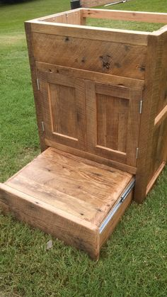 Your Custom Rustic Tan Barn Wood Vanity Or Cabinet With A Built In Step Stool