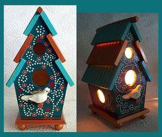 Teal Birdhouse Night Light Lamp by RFClocksandLights on Etsy, $29.00