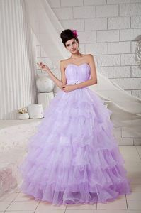Wholesale Lilac Organza Sweetheart Quinceanera Gown Dress with Ruffles