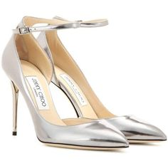 Jimmy Choo Lucy 100 Metallic Leather Pumps ($405) ❤ liked on Polyvore featuring shoes, pumps, heels, sapatos, silver, metallic leather shoes, metallic leather pumps, jimmy choo, heel pump and leather footwear