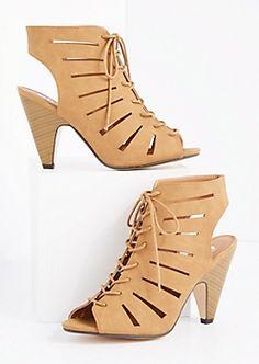Tan Cut-Out Cone Heel