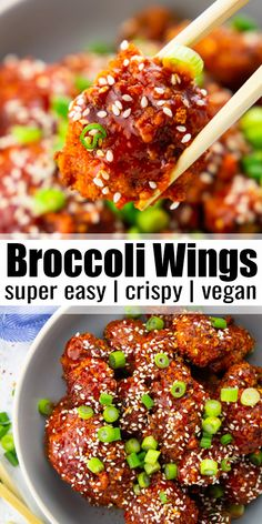 These broccoli wings are out of this world! They're easy to make, super crispy, and spicy. They're great with a bowl of brown rice or on their own as an appetizer. Find more easy vegan recipes at vega Rice Recipes For Dinner, Vegan Lunch Recipes, Delicious Vegan Recipes, Vegan Dinners, Cooking Recipes, Healthy Recipes, Vegetarian Broccoli Recipes, Easy Vegan Lunch, Easy Recipes