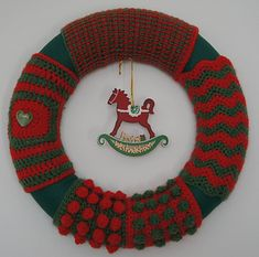 Door wreath -- you can change the colors and the decoration in the middle to match any holiday.