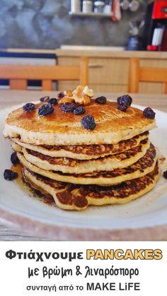 Φτιάχνουμε τις πιο υγιεινές pancakes με βρώμη και λιναρόσπορο Healthy Desserts, Healthy Recipes, Waffle Sandwich, Recipe For Success, Dessert Drinks, Group Meals, Greek Recipes, Cooking Time, Breakfast Recipes