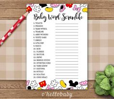 Baby Word Scramble Disney Theme Baby Shower Game – Disney Baby Shower – Gender Neutral Baby Shower – 005 Baby Word Scramble Disney Theme Baby Shower Game by ohellobaby Baby Shower Games For Large Groups, Easy Baby Shower Games, Simple Baby Shower, Gender Neutral Baby Shower, Baby Shower Parties, Baby Boy Shower, Baby Gender, Baby Shower Wording, Baby Shower Invitations