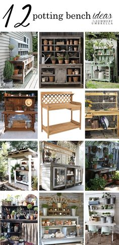12 Rustic Garden Potting Bench Ideas is part of Rustic garden Table - Who's ready for Spring ! Check out these gorgeous rustic garden potting bench ideas for a little bit of inspiration for this coming season MUST PIN! Rustic Potting Benches, Potting Tables, Garden Benches, Outdoor Benches, Outdoor Ideas, Rustic Gardens, Outdoor Gardens, Cottage Gardens, Small Gardens