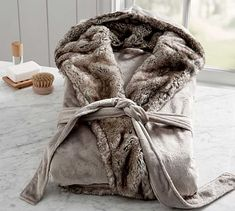 Pottery Barn Ombre Tipped Faux Fur Robe Pottery Barn, Caramel Ombre, Soft Slippers, Fur Pillow, Grey Ombre, Gray, Faux Fur Throw, Size 16 Dresses, Fur Trim