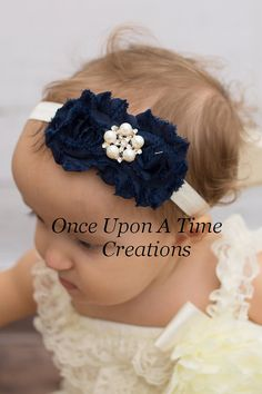 Navy Blue & Ivory Pearl Double Shabby Flower Headband - Christmas Photo Prop - Autumn Newborn Infant Hairbow - Holiday Baby Girls Hair Bow on Etsy, $5.99