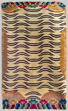 Tiger rug, Tibet.  Wool pile. MiddIe 20th century. Found in Ladak