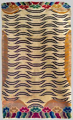 Tiger rug, Tibet.  Wool pile. MiddIe 20th century. Found in Ladak